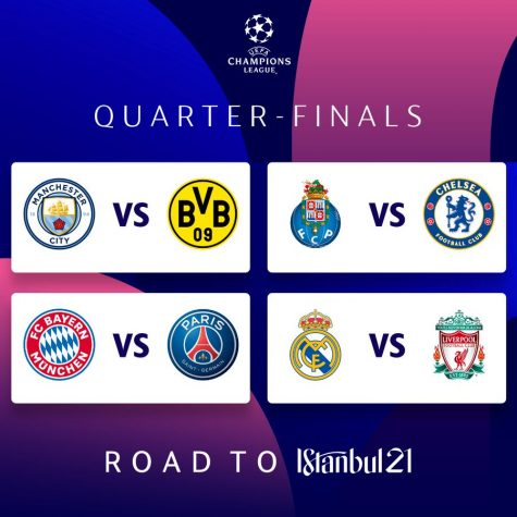 With the quarterfinal draws (shown above), each team will now fight to be one of the last four teams remaining in the Champions League. (Courtesy of Twitter)