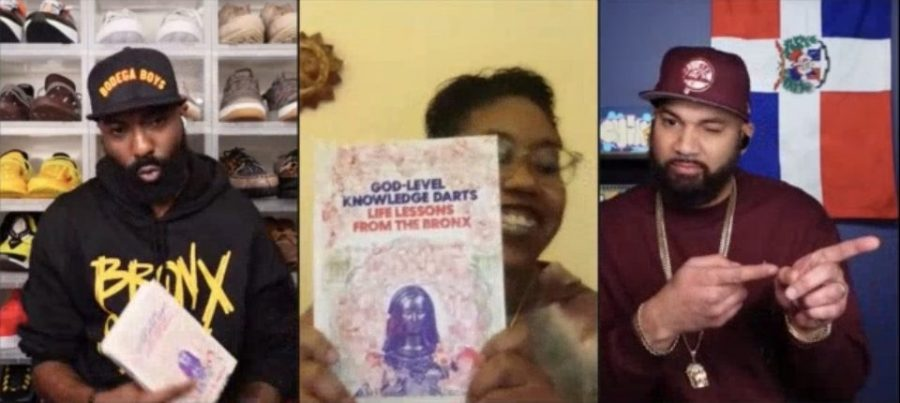"""Professor Brandy-Monk Payton speaks with Desus & Mero on their new book """"God-Level Knowledge Darts: Life Lessons from The Bronx."""" (Courtesy of Sara Tsugranis/The Fordham Ram)"""