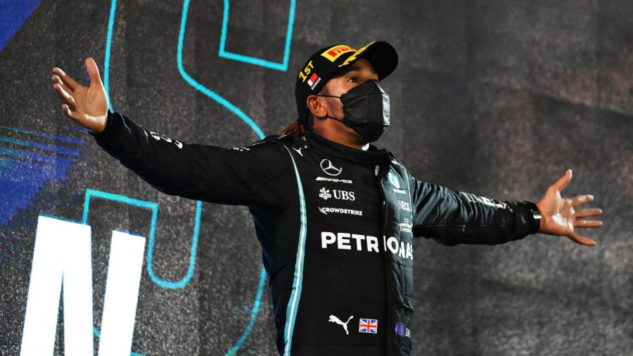 Hamilton (above) defended brilliantly against a charging Verstappen in the closing laps to take the victory to start off the 71st Formula One season. (Courtesy of Twitter)