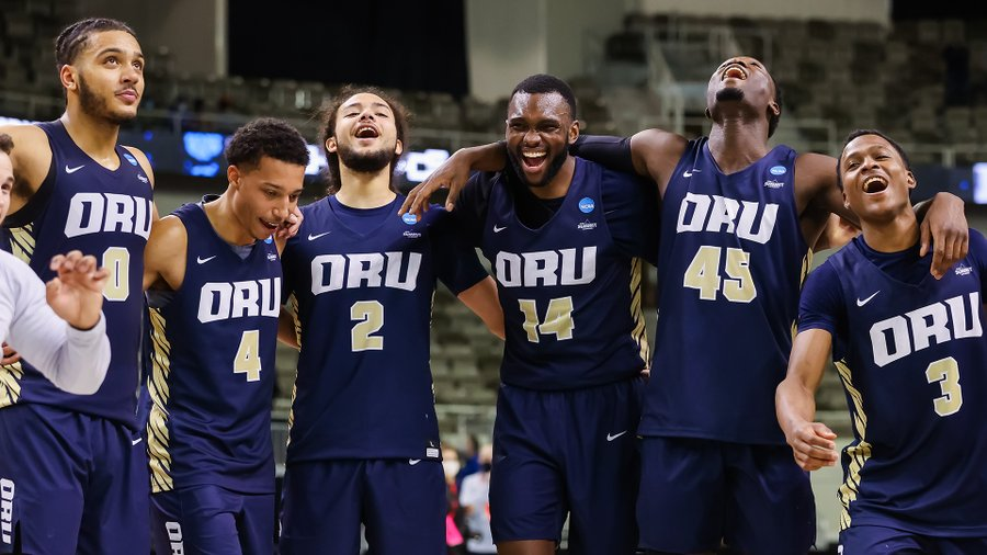 Oral Roberts ( above) is one of the underdogs in this year's March Madness that made an upset while advancing to the Sweet 16 and busting brackets at the same time. (courtesy of Twitter)