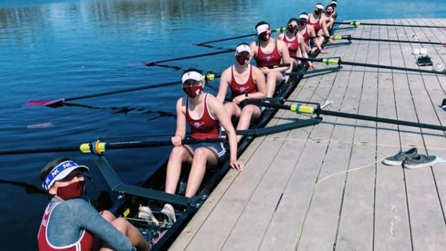 Even with a limited roster on the day, the rowing team received a good sense of where they stand following the scrimmage race against Manhattan.