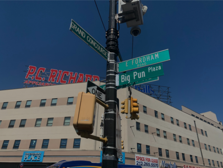 "The East Fordham Road and Grand Concourse intersection is renamed ""Big Pun Plaza"" in honor of the late rapper. (Courtesy of Chris Capuano/The Fordham Ram)"