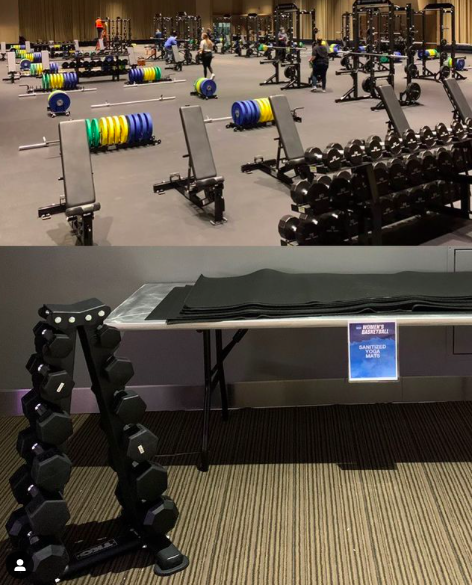 Stanford University sports performance coach Ali Kershner posted this photo on Instagram on March 18. The men's weight room is pictured above and the women's below. (Courtesy of Instagram)