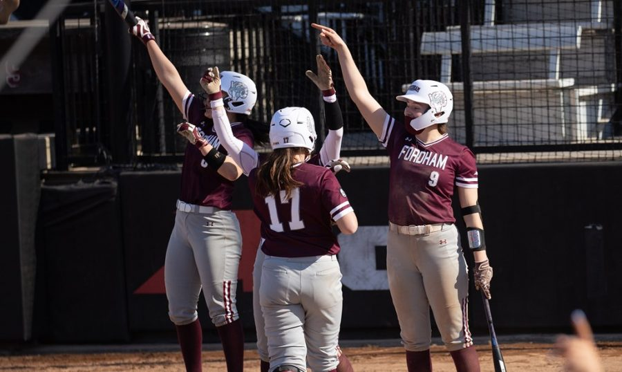 The Rams saw plenty of runs cross the plate over the weekend, including 26 in a single day's doubleheader alone. (Courtesy of Fordham Athletics).