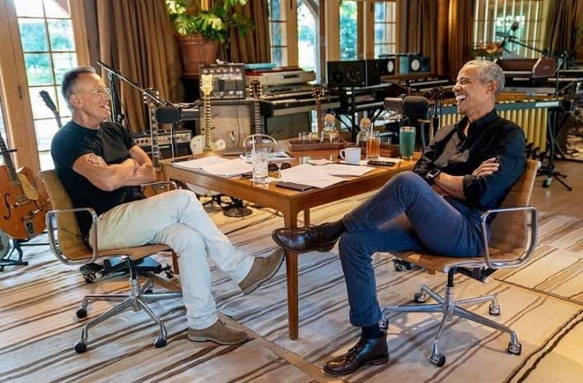 Bruce Springsteen (left) and former President Barack Obama (right) join to launch an eight-episode podcast series. (Courtesy of Facebook)