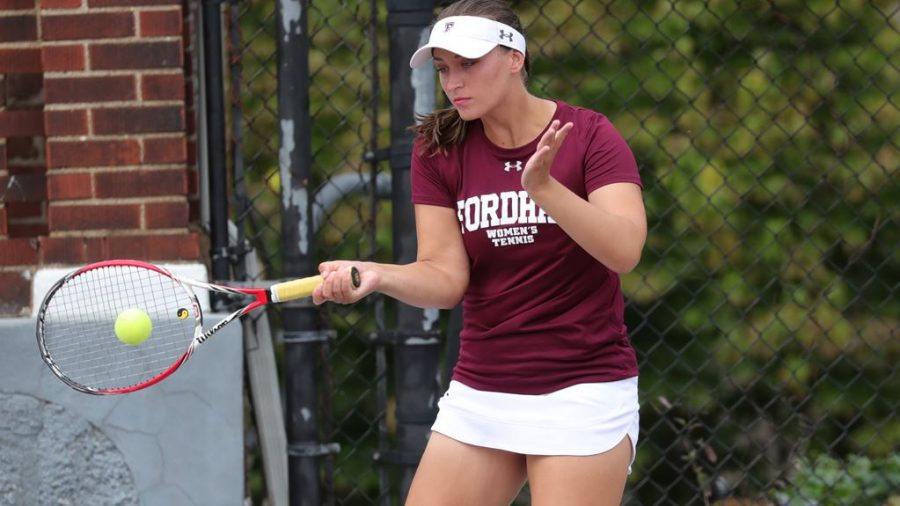 Team captain Arina Taluyenko (above) led the Rams on the court in their first two fixtures in over a year. (Courtesy of Fordham Athletics)
