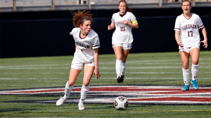 The women's soccer team bounced back after two losses behind some tremendous play from Cocozza (above), named A-10 Offensive Player of the Week.(Courtesy of Fordham Athletics)