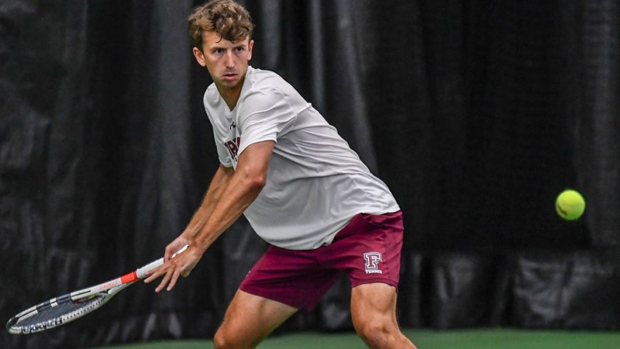 Seniors Makatsaria (above) and Green led the way with victories in a weekend of mixed results for Men's Tennis. (Courtesy of Fordham Athletics)