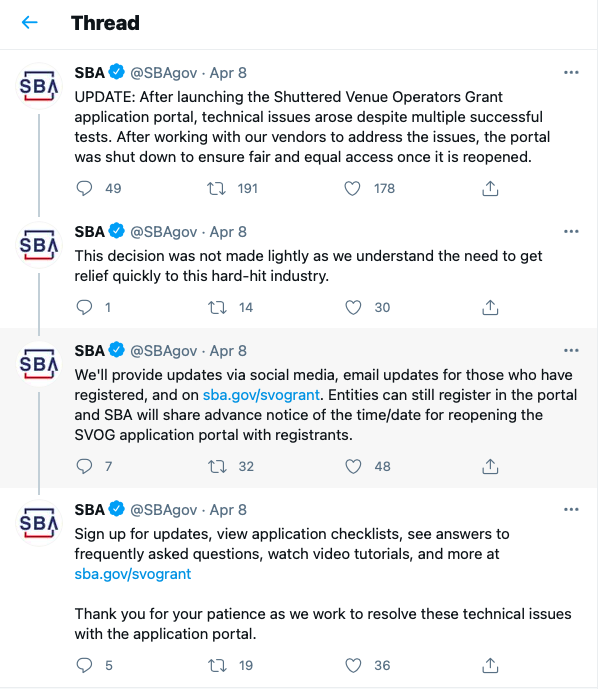 SBA announced the program's shutdown April 8 via Twitter, citing technical difficulties. (Courtesy of Twitter)