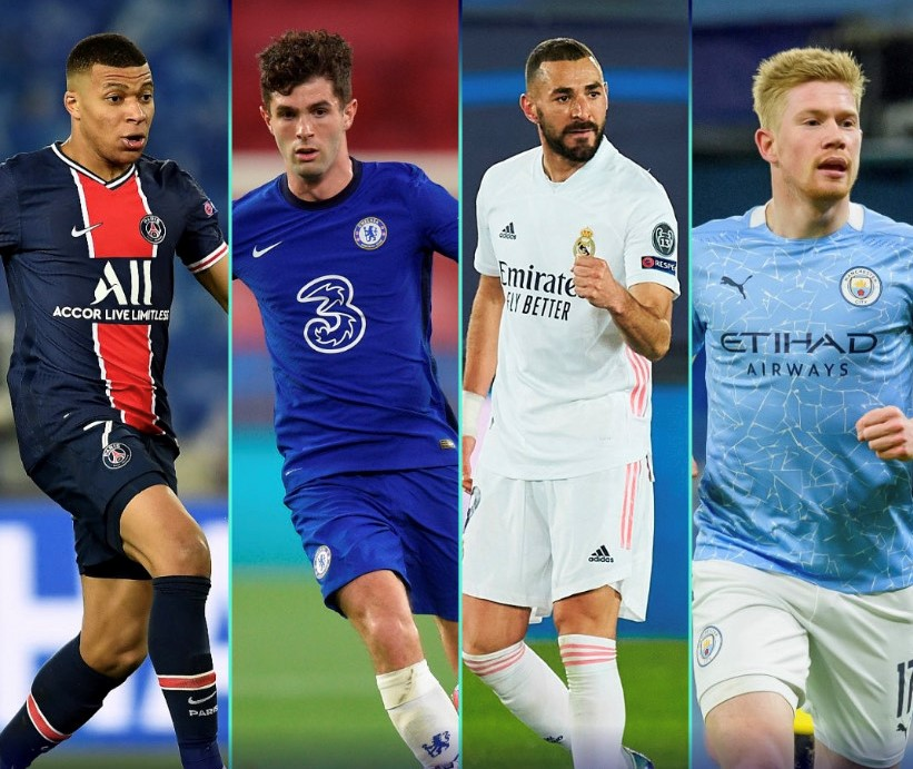 Star players (from left to right) Kylian Mbappe, Christian Pulisic, Karim Benzema and Kevin De Bruyne are hoping to help their teams reach the Champions League Final.(Courtesy of Twitter)