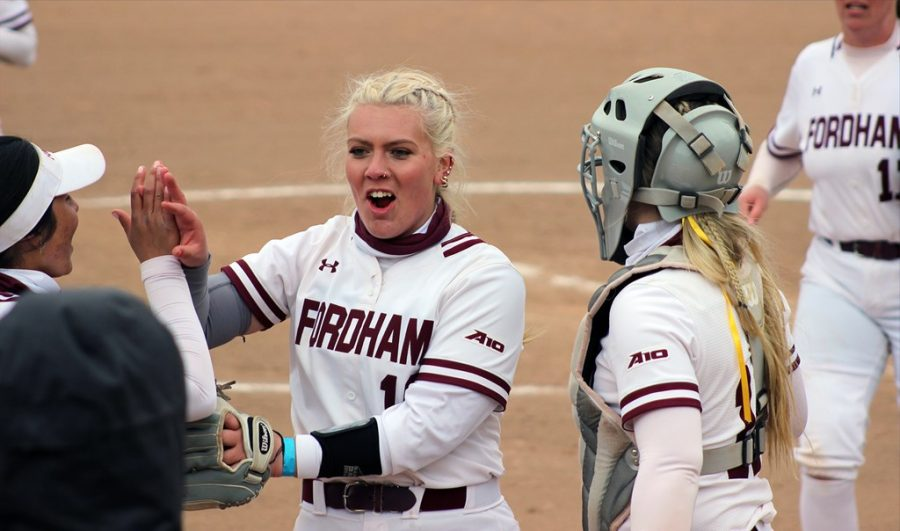 Miller (above) threw the seventh and eighth perfect games in program history this weekend. (Courtesy of Fordham Athletics)