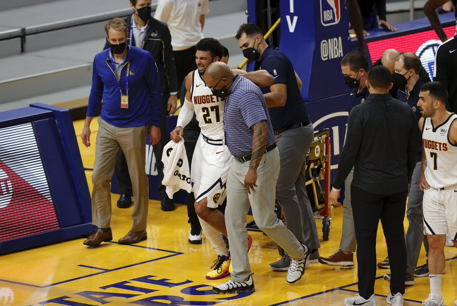 Many injuries have plagued this NBA season, with Jamal Murray's being the latest and to potentially devastating effect for the Nuggets. (Courtesy of Twitter)