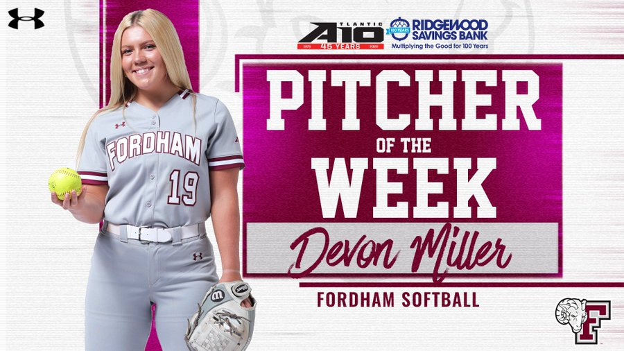 Devon Miller earned her second A-10 Pitcher of the Week Award for her two terrific outings against the Explorers. (Courtesy of Twitter)