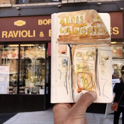 Nick Golbieweski holds up his partial drawing preceding his painting of the storefront. (Courtesy of Instagram)
