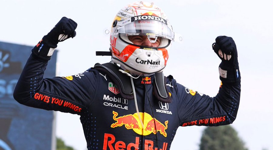 Red Bulls Max Verstappen (above) takes the win at the Emilia Romana Grand Prix to show himself as an early competitor to Lewis Hamilton (Courtesy of Twitter).
