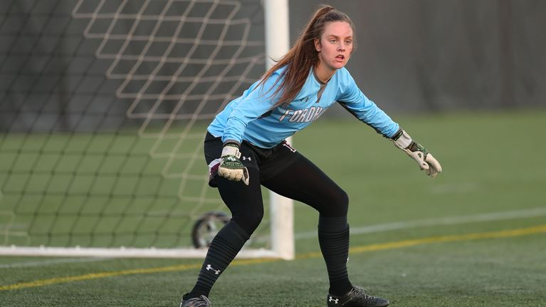 O'Sullivan (above) fought hard in goal in Fordham's final games of the season. (Courtesy of Fordham Athletics)