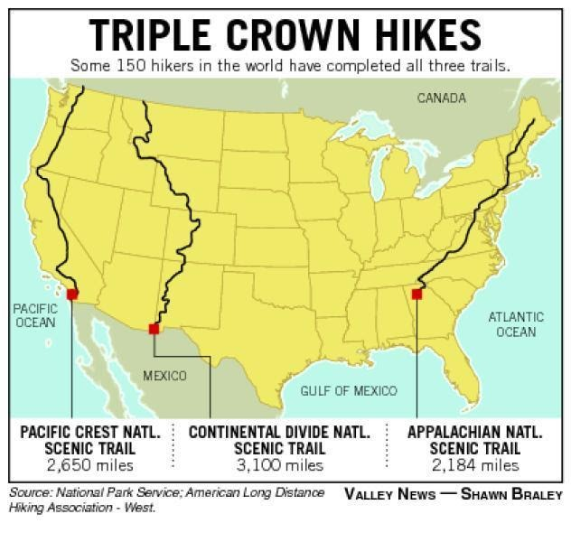 The triple crown of hiking includes the Pacific Crest Trail, the Continental Divide Trail and the Appalachian Trail. (Courtesy of Facebook)