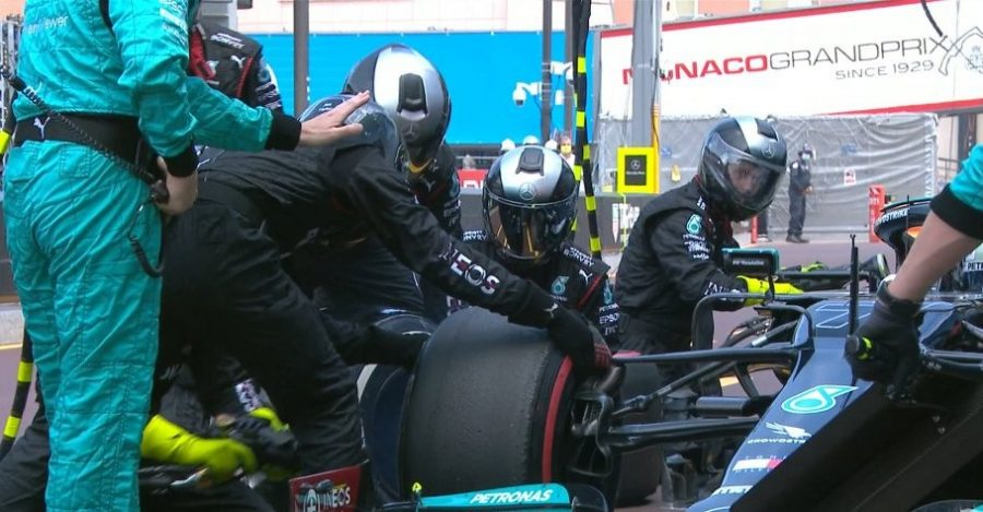 Valtteri Bottas had to retire during the Monaco Grand Prix due to the fact that they could not remove the right front  tire (pictured above) during his pit stop. (Courtesy of Twitter)