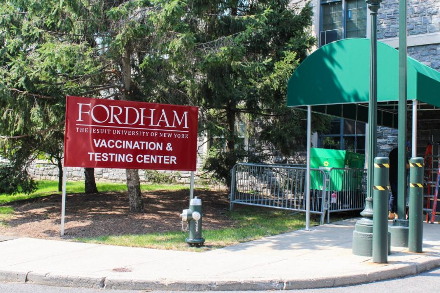 The vaccination and testing center, seen above, is located behind OHare Hall, on the east side of the Rose Hill campus.