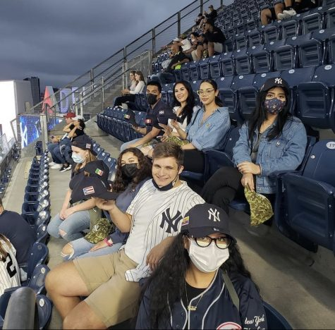 Fordham students enjoy a night at Yankee Stadium as part of Fordham Office of Multicultural Affairs' Latinx Heritage Committee's group celebration of the month.