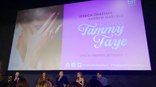 """On Wednesday Sept. 15, Fordham's Center on Religion and Culture held a special screening of """"The Eyes of Tammy Faye"""" before its scheduled release on Sept. 17. (Courtesy of Sara Tsugranis)"""