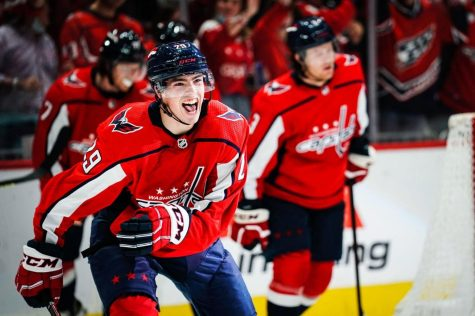 Hendrix Lapierre scored his first  career goal in the Capitals statement victory to start the season. (Courtesy of Twitter)