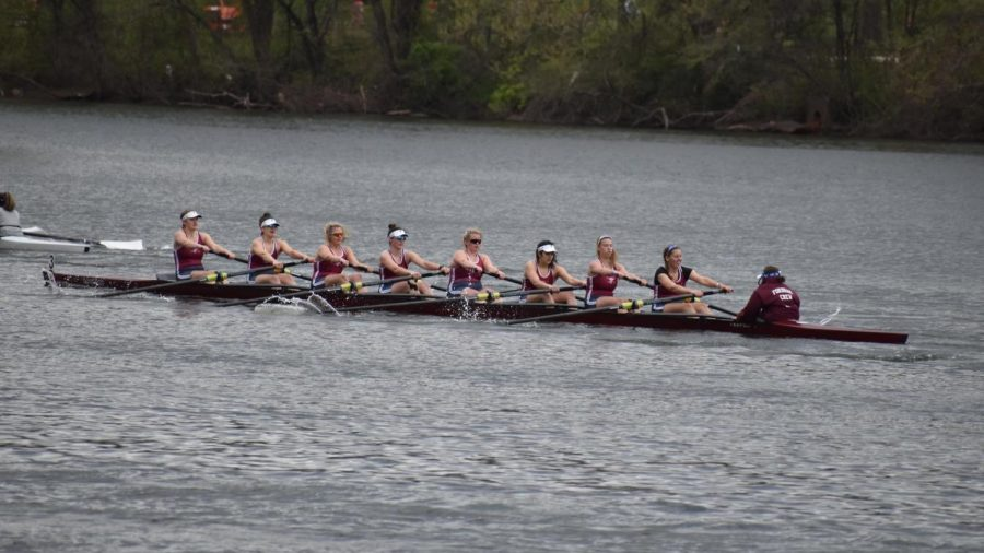 The Varsity Eight was the first A-10 boat to cross the line at the Head of the Charles. (courtesy of Fordham Athletics)