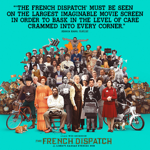 """Wes Anderson's latest film """"The French Dispatch"""" features a host of familiar faces, all of whom lend vibrancy to his carefully crafted art film. (courtesy of Twitter)"""